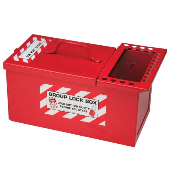 Caja de bloqueo para grupos y de almacenamiento de candados combinada