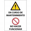 Letrero magnético Advertencia Mantenimiento Prohibición hacer funcionar