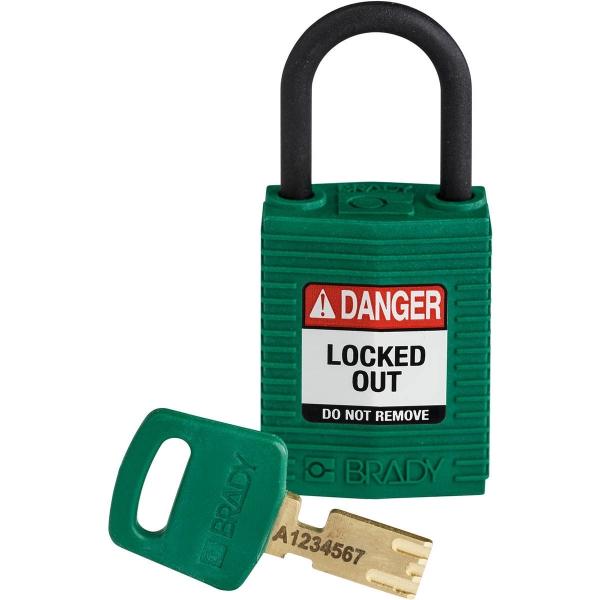 Candado safekey compacto nailon con arco de plástico verde con llave a juego